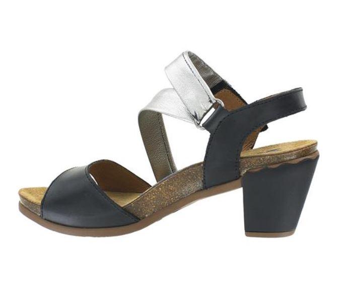 Wanda Panda Women/'s Wanda WP-7609T Leather High Heel Sandals Black Silver