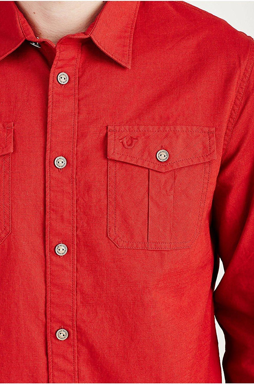 True Religion Mens Long Sleeve Utility Woven Button Front Shirt Ebay