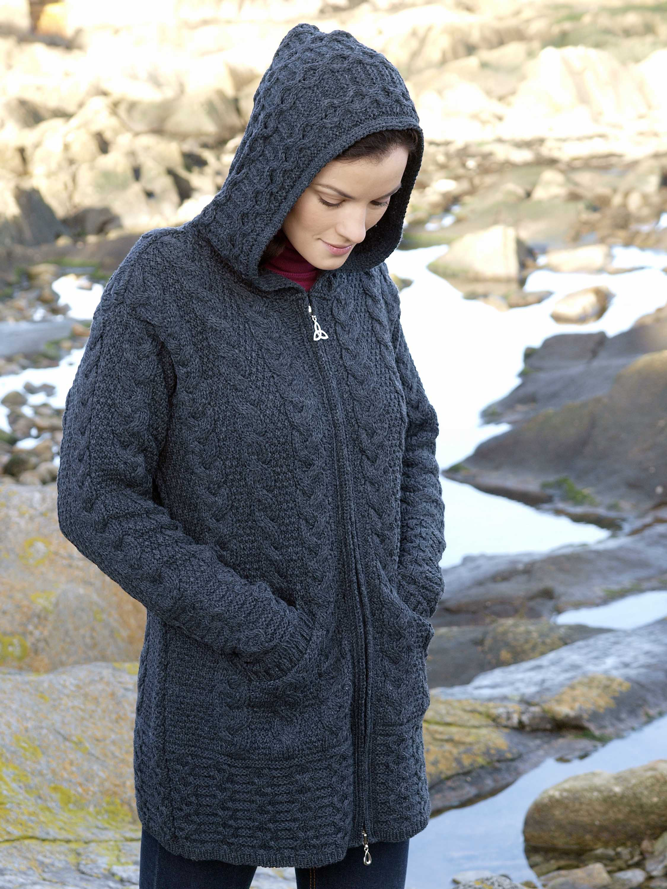 Irish Merino Wool Ladies Hooded Aran Zip Sweater Coat | eBay