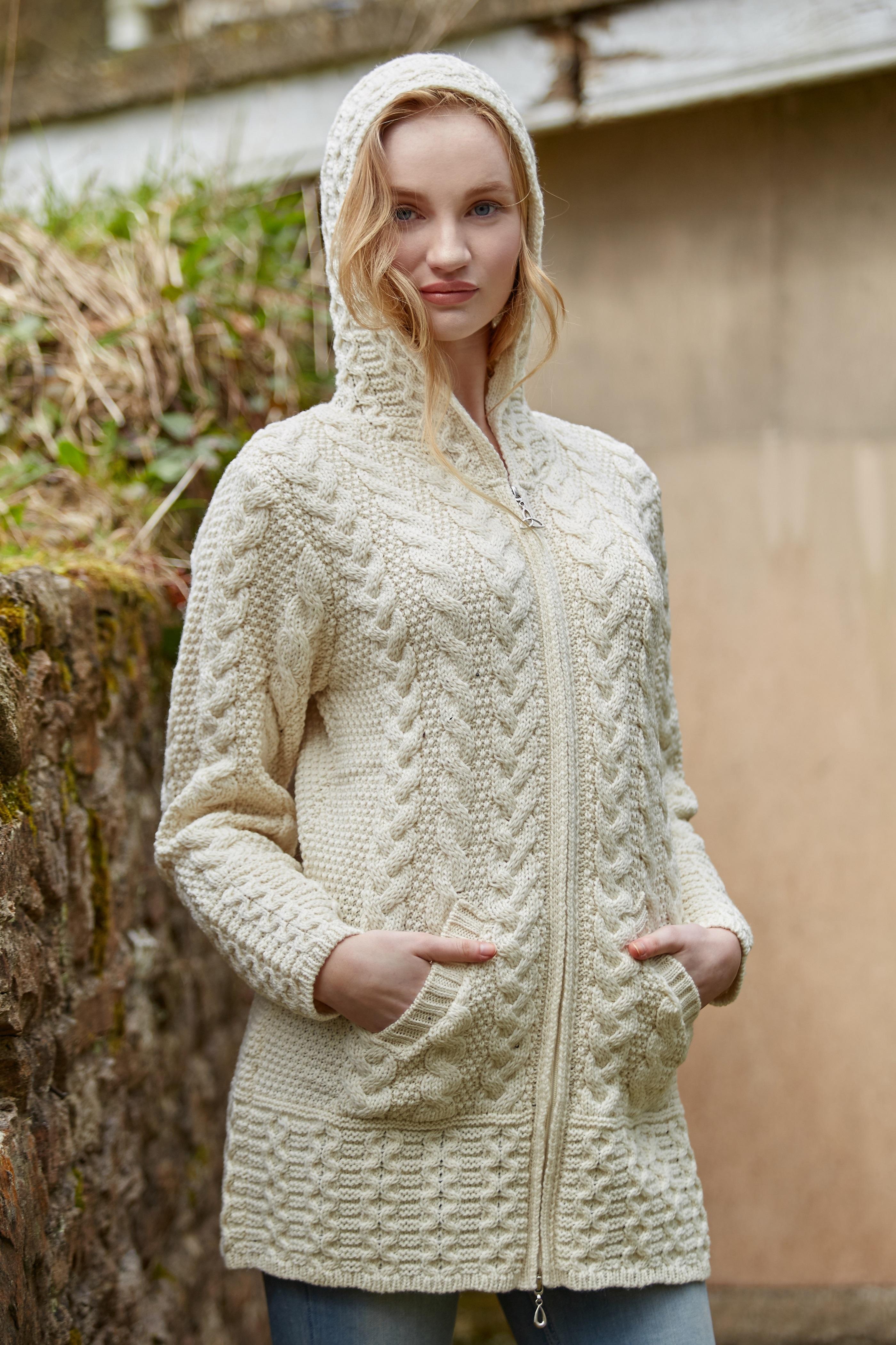 Irish Merino Wool Ladies Hooded Aran Zip Sweater Coat | eBay