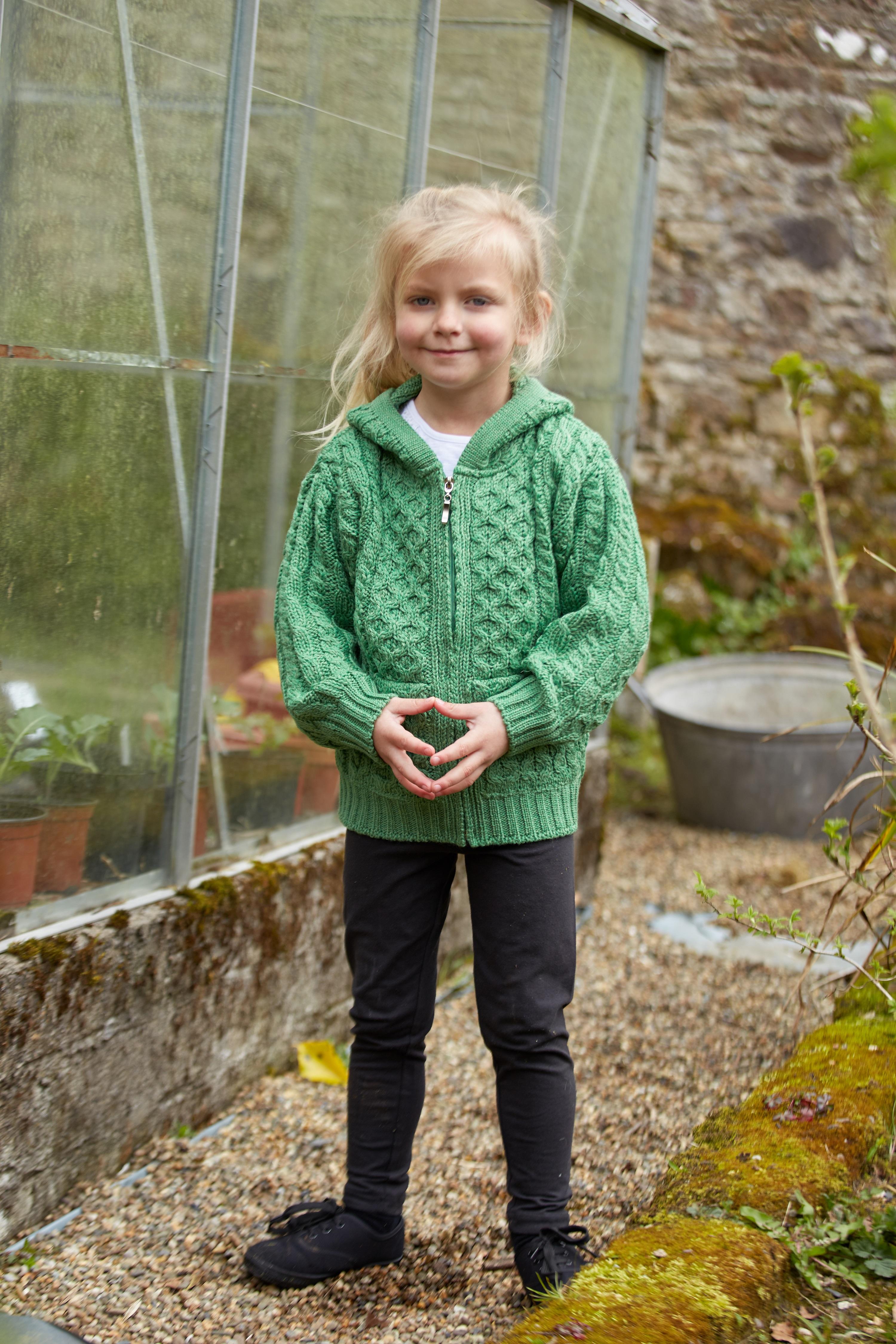 Kid/'s Wool Sweater Hooded Full Zip with Pockets Irish Merino Wool Hooded Sweater