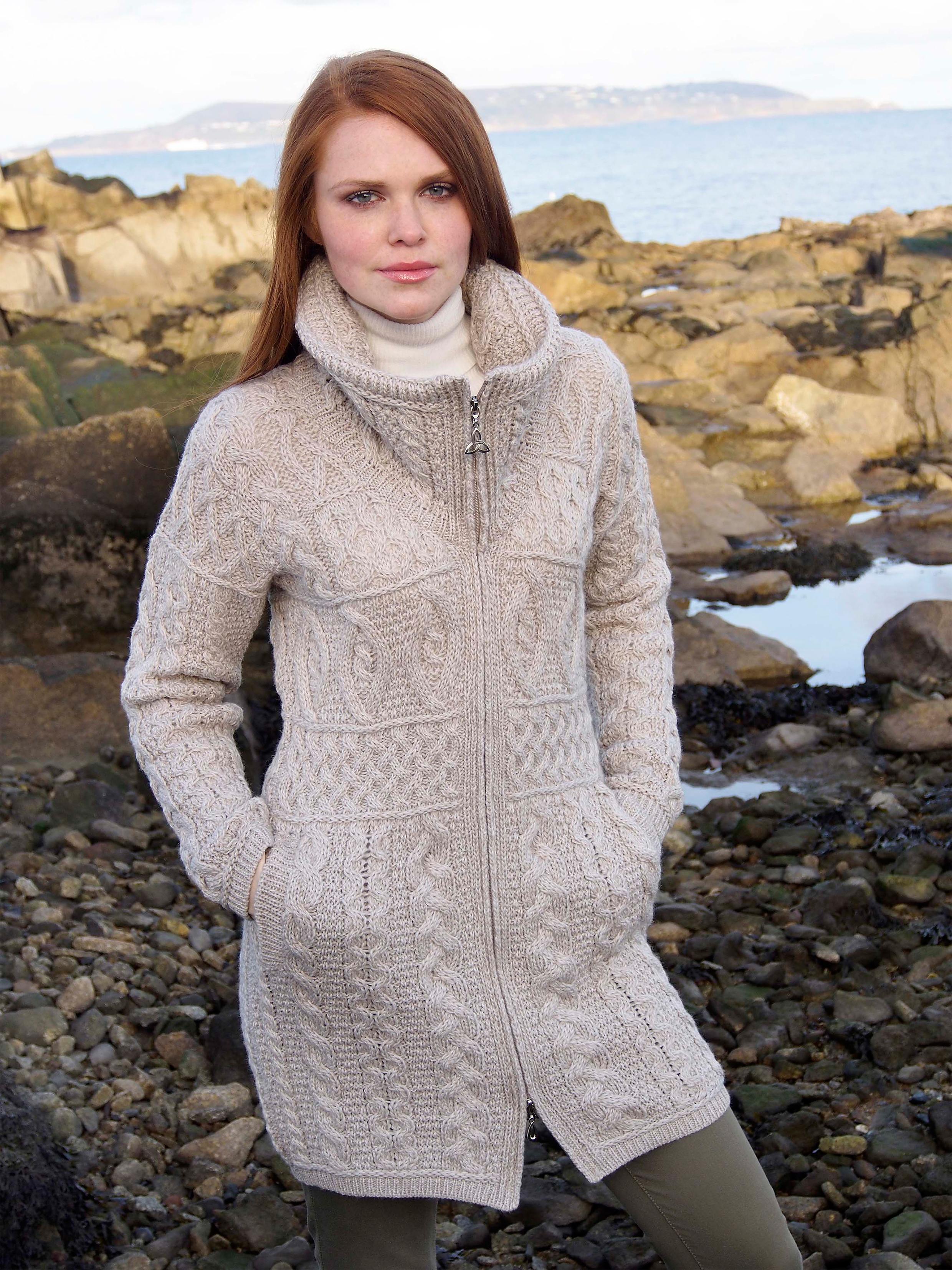 Irish Merino Wool Double Collar Aran Knit Coat Ebay