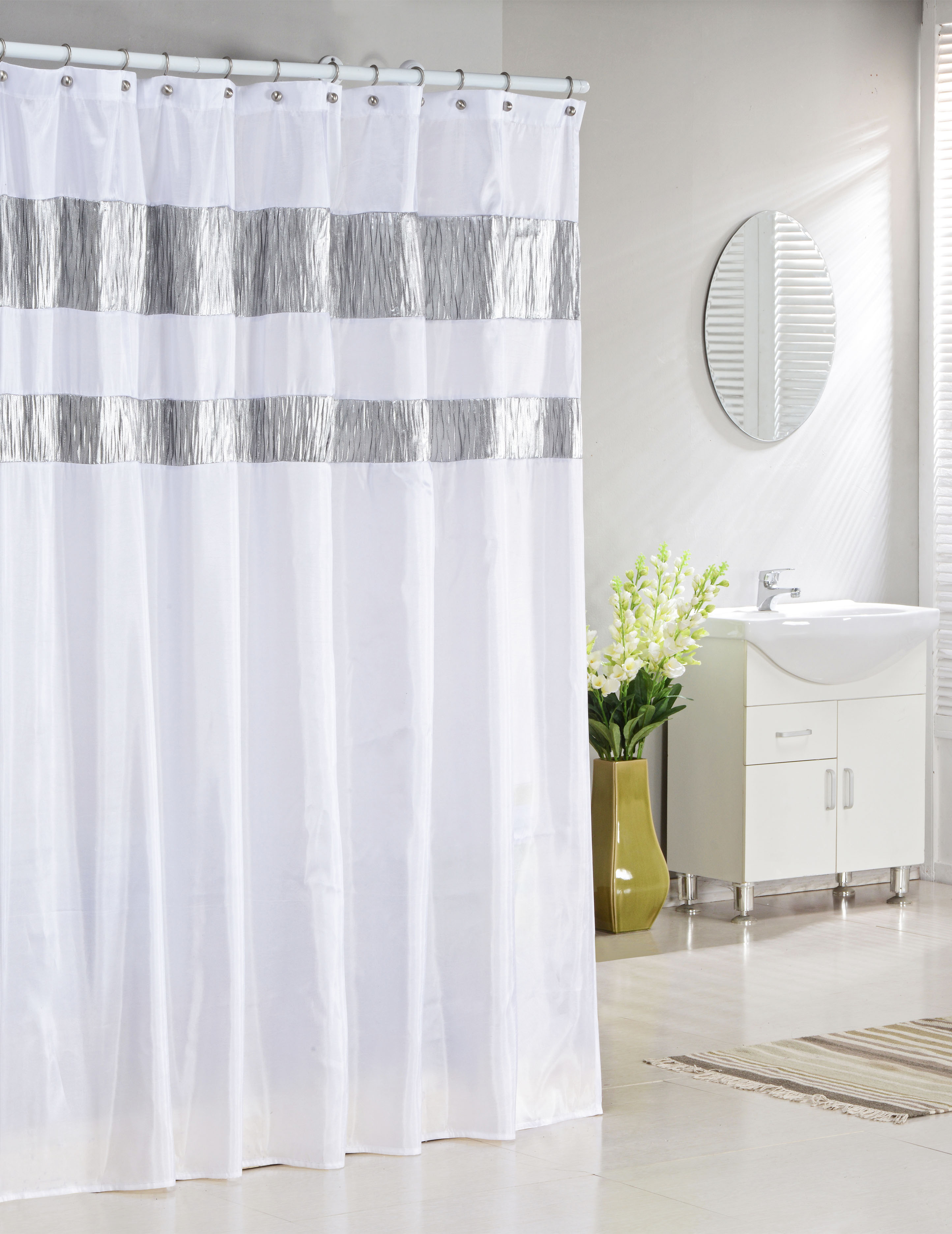 Pure White Fabric Shower Curtain With Silver Metallic