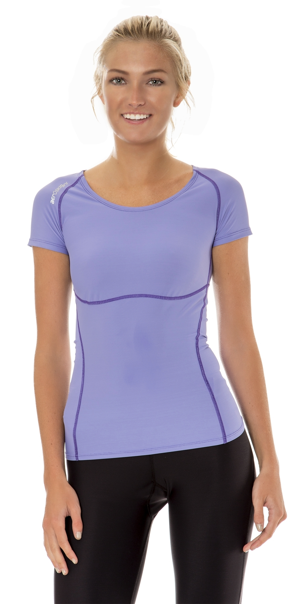 Aeroskin dry womens compression short sleeve running shirt for Long sleeve running shirt womens