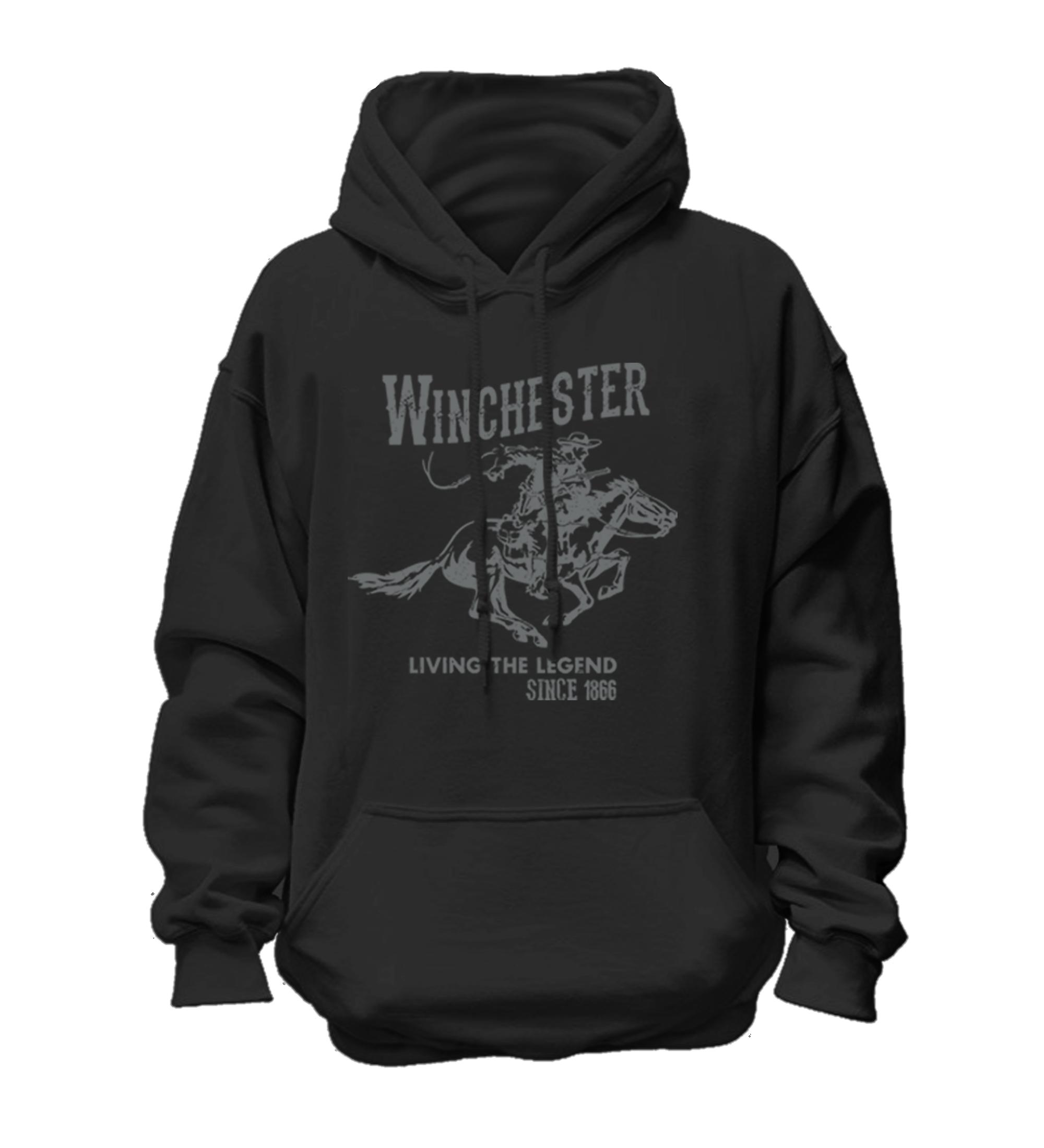 Winchester Official Mens Vintage Rider Classic Fleece Pullover Hoodie Sweatshirt