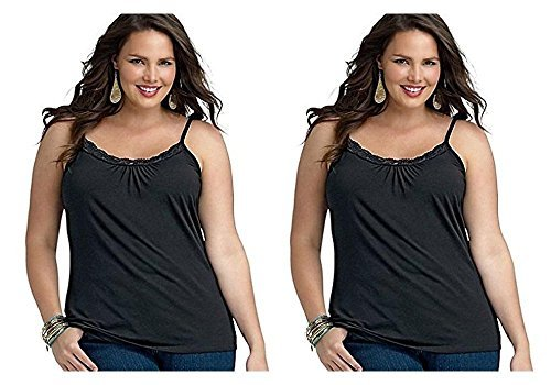 38149a297a027 2-Pack Just My Size Plus Size Women s Lace Shirred Front Solid Tank ...