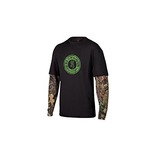 Browning Outfitters Mens Long Sleeve Ryder Camo Cotton Crew Neck T Shirt Green