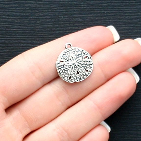 10 Sand Dollar Charms Antique Silver Tone SC2513