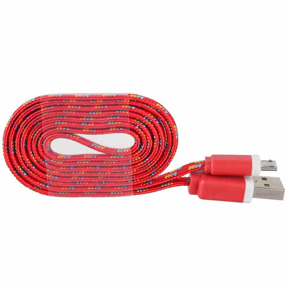 Flat Braided Cable : Lot flat braided micro usb charger cable cord sync for