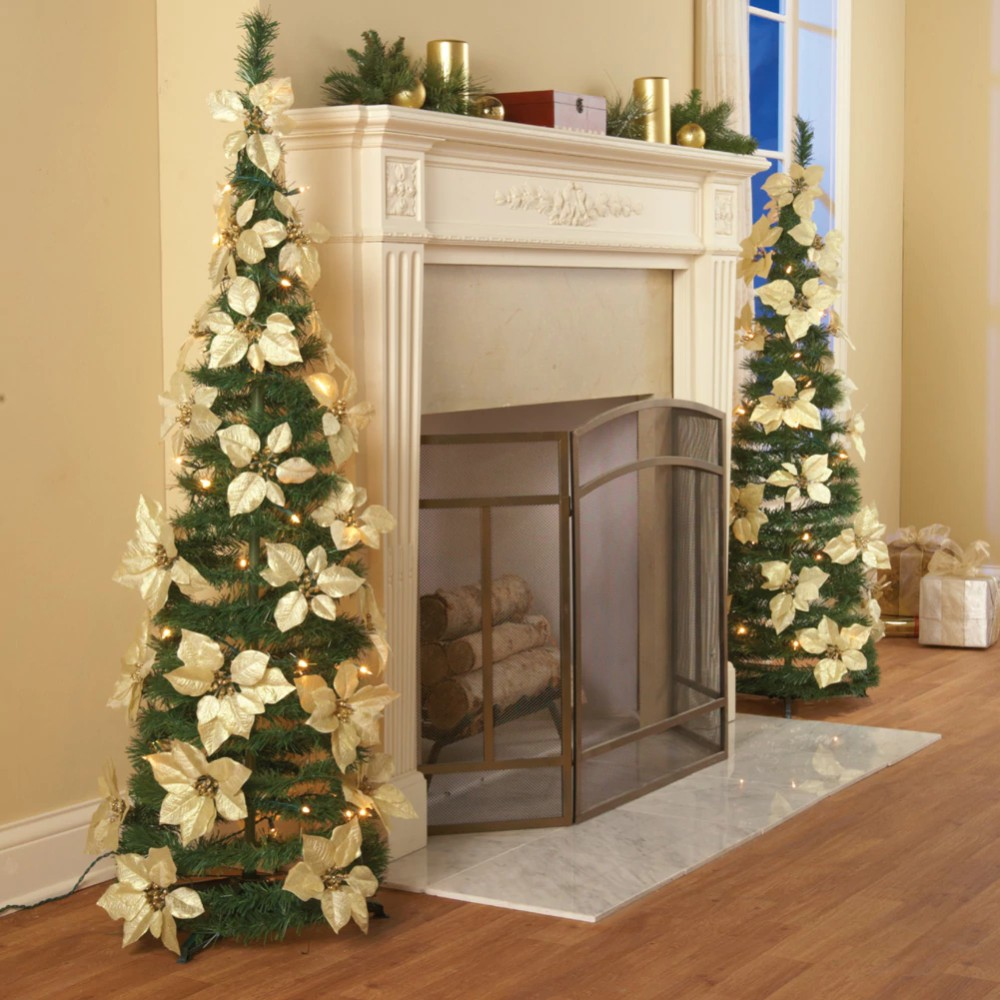 Lighted Poinsettia Red Or White Pull Up Christmas