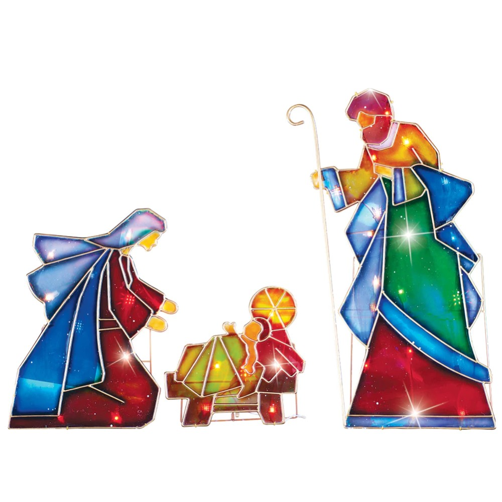 Lighted outdoor mosaic nativity scene 3 pc arch star bethlehem glass lighted outdoor mosaic nativity scene 3 pc arch aloadofball Choice Image