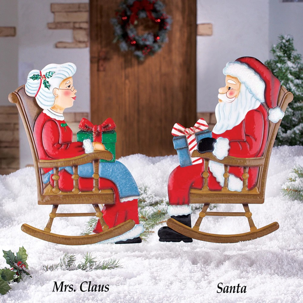 Santa Claus Lawn Decorations: Mr & Mrs Claus Rocking Chair Santa Christmas Holiday