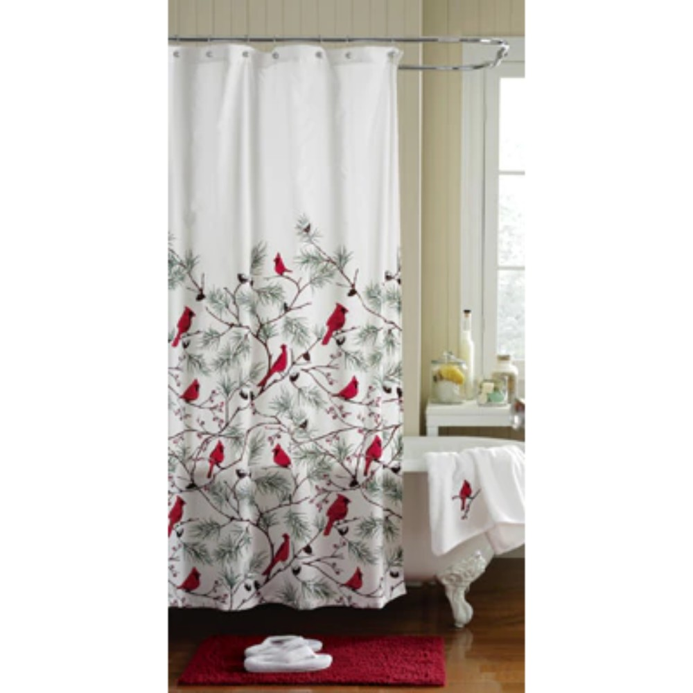 Winter Cardinals Christmas Bathroom Collection Shower Curtain Rug