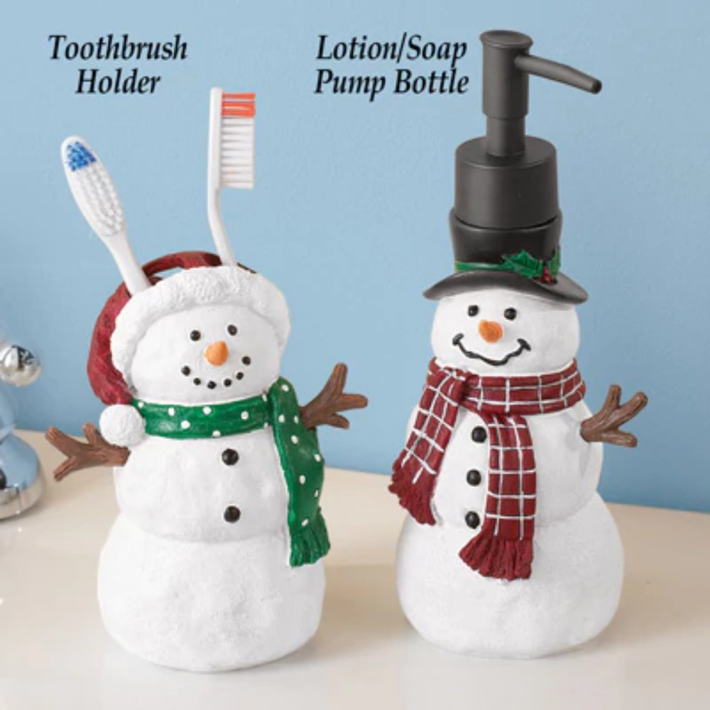 snowman trio christmas shower curtain toilet bath mat towel miniature figurines ebay. Black Bedroom Furniture Sets. Home Design Ideas