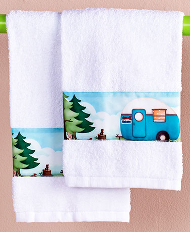 Retro Camping Trailer Bathroom Shower Curtain Towels Toothbrush
