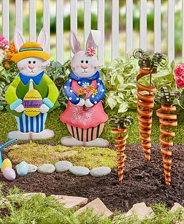 Easter bunny carrot easter spring garden yard stake for Spring yard decorations
