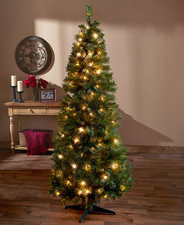 6 ft Pre-Lit Pop-Up Christmas Trees Plastic Metal Clear & Multi ...