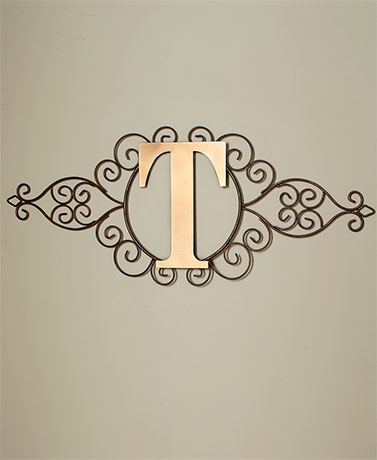 Monogram Metal Wall Art Scrolled Rustic Finish Home Decor Letter ...