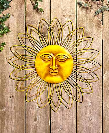 Metal Wall Sun Faces Colorful Touch Indoor Outdoor Fence Patio Home ...