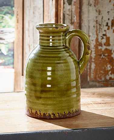 Rustic Ceramic Pottery Vases Flowers Foliage Decorative Jug Pitcher