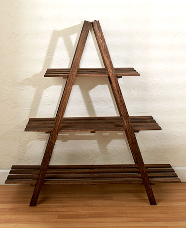 Graywashed 3-Tier A-Frame Wood Shelving Storage Shelf Plant Stand ...
