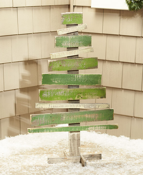 wood christmas tree reindeer planter porch home lawn - Rustic Wood Christmas Tree