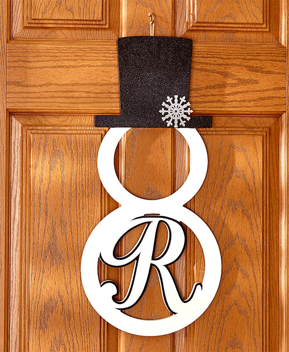 Monogram Front Door Decoration: Monogram Snowman Front Door Hangers Wall Decor Metal 15