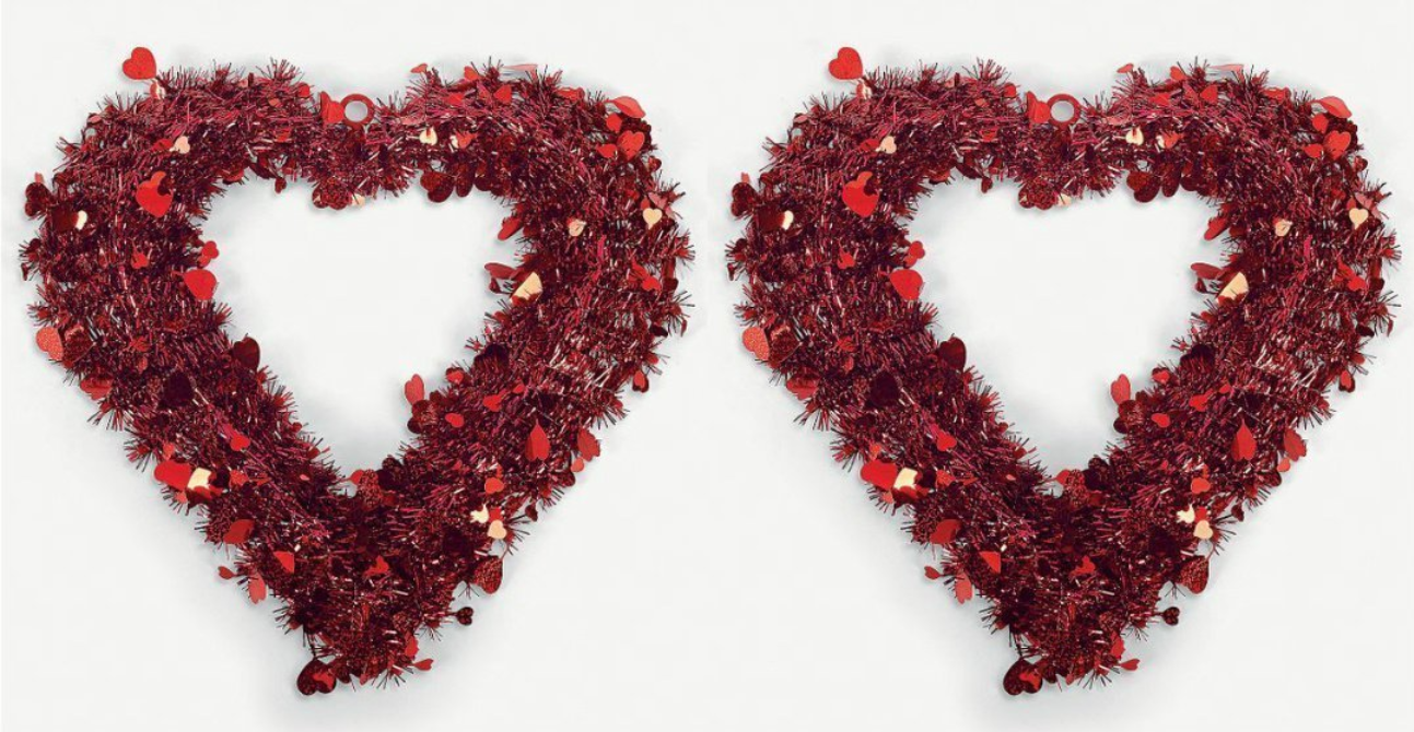Valentine\'s Day Red Heart Shaped Foil Garland Wreath Door Hanger ...