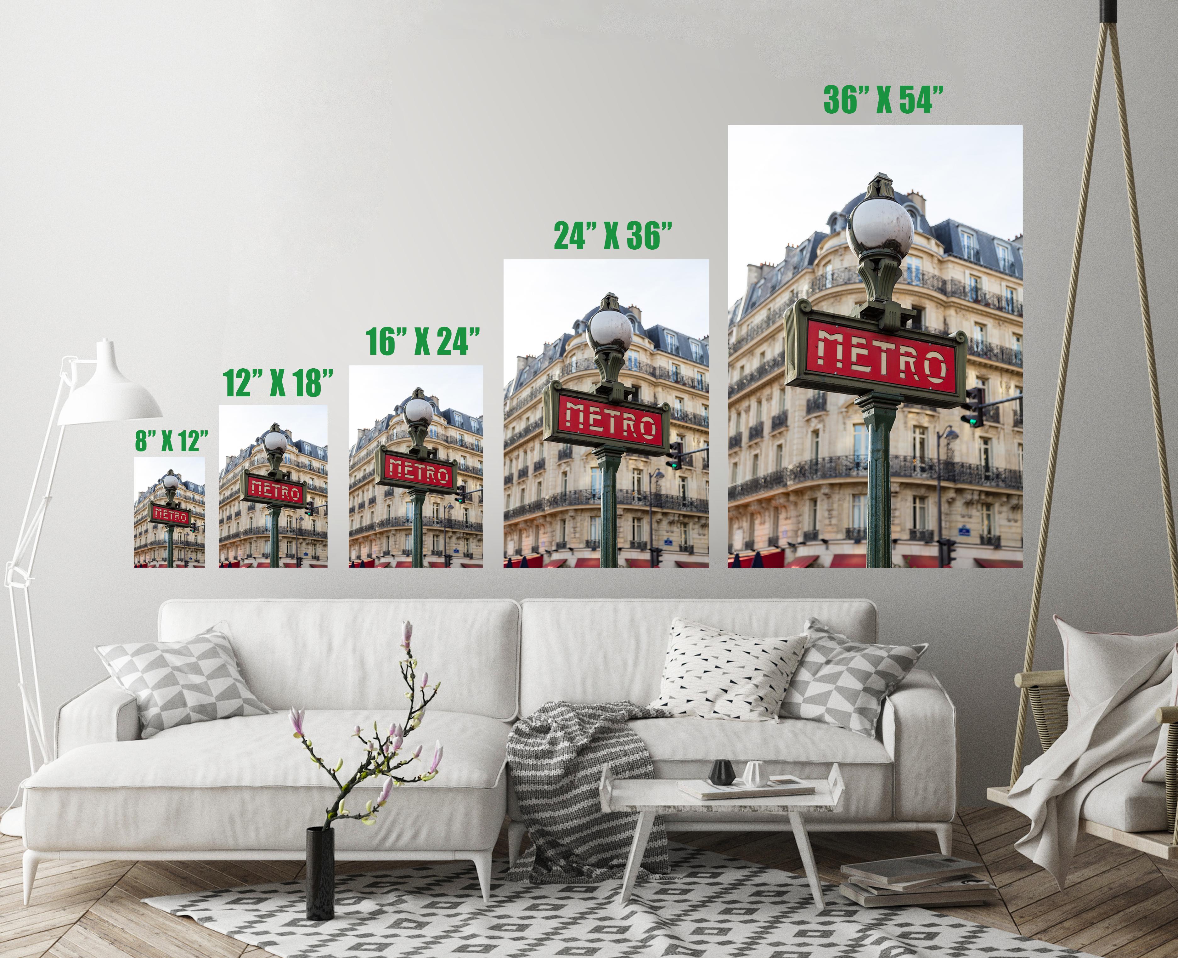 Metro Sign Street Lamp Paris France Art Print Wall Decor Image ...
