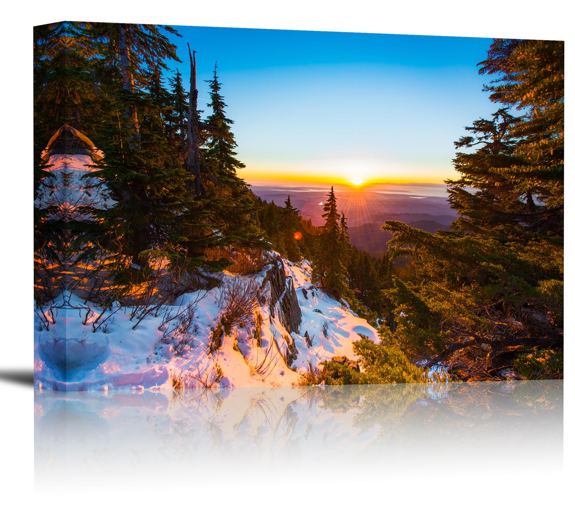 Mountain Forest Sunset Sunrise Art Print Wall Decor - Canvas ...