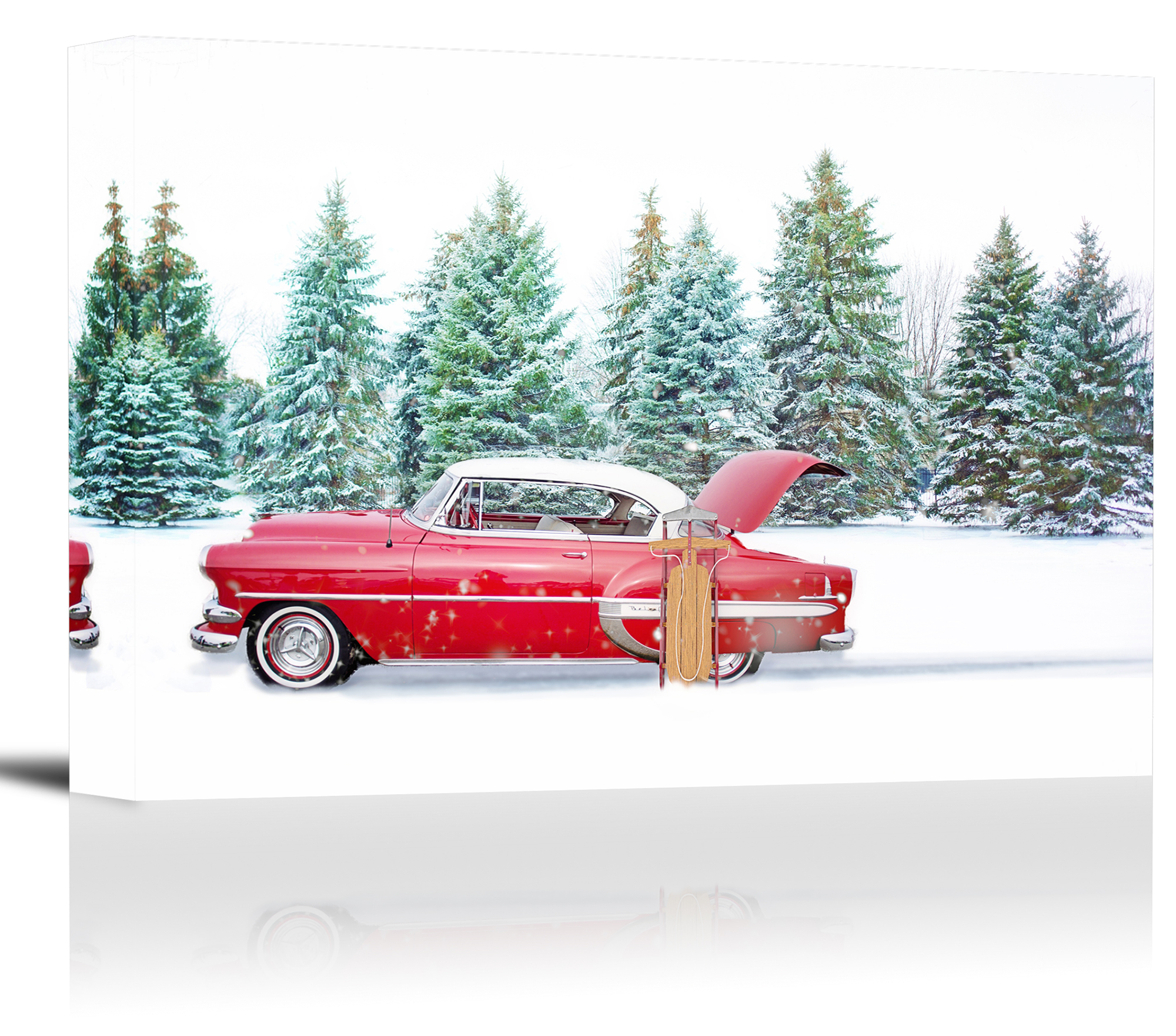 Chevrolet Bel Air Winter Snow Car Art Print Wall Decor - Canvas ...