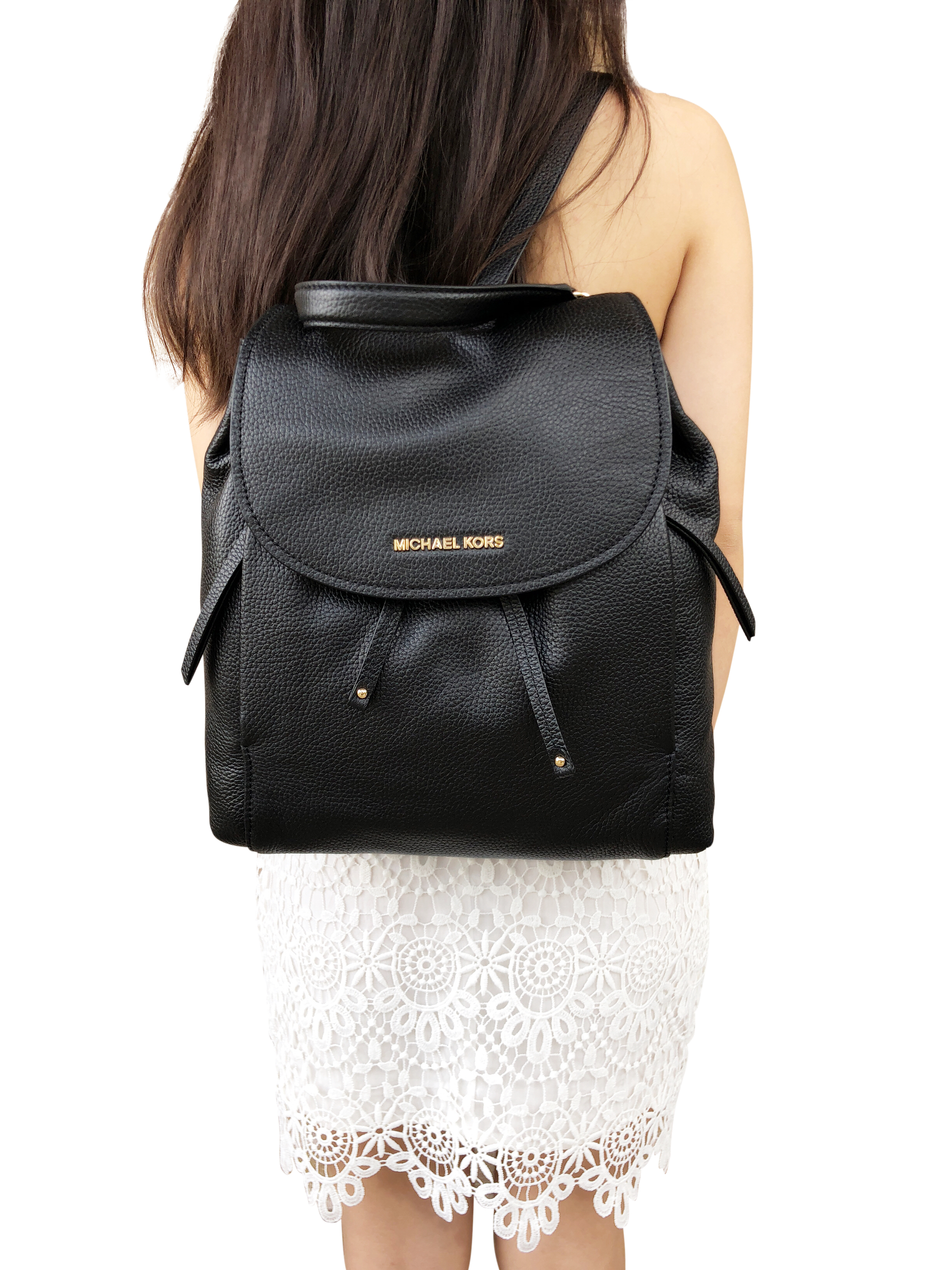 fdcbd0dda2a3 Image is loading Michael-Kors-Riley-Large-Leather-Backpack-Black-Drawstring-