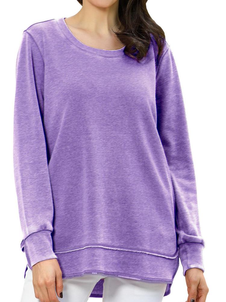 Green Tea Womens Long Sleeve Comfy Fleece Mineral Wash Top Sweatshirts
