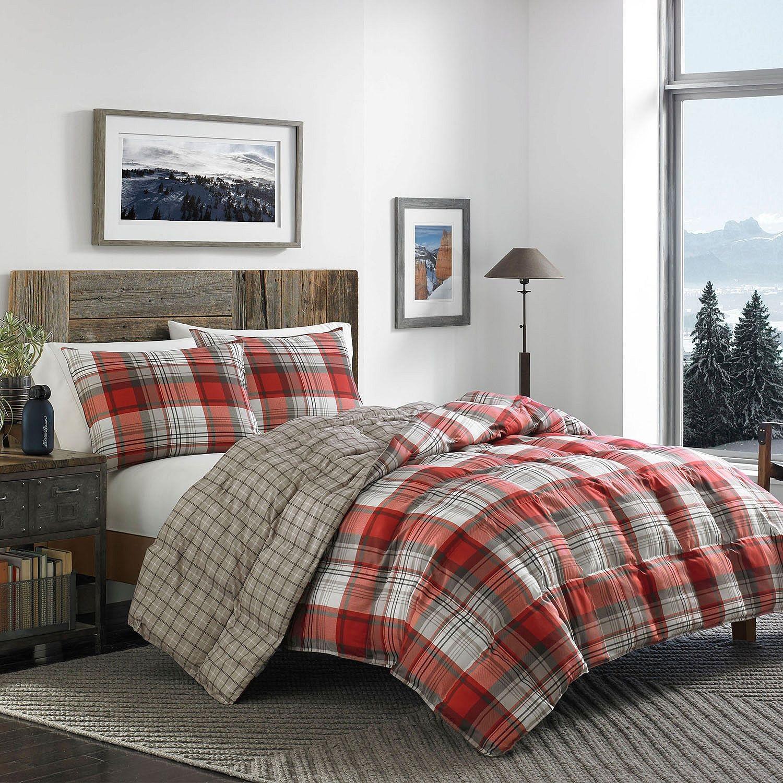 ravena dp amazon set bed eddie com cotton king dxddal piece plaid reversible quilt kitchen bauer home bedding