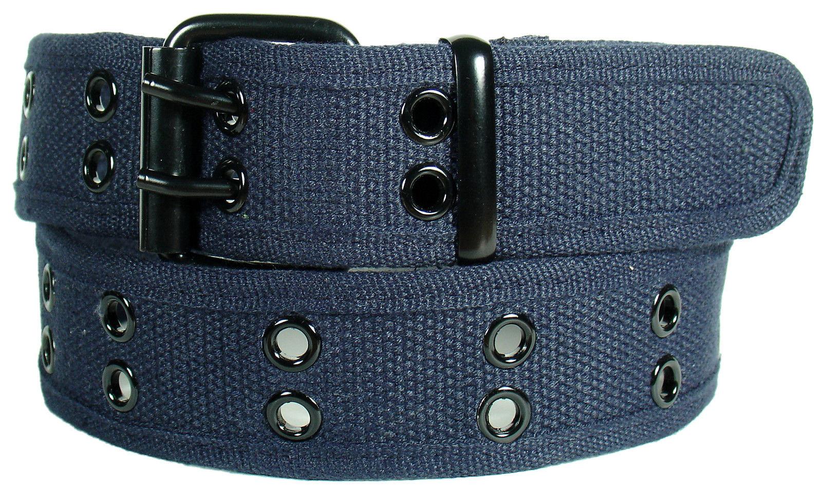 New Canvas Web Belt Two Hole Black Grommets Metal Roller Buckle Fabric Men Women