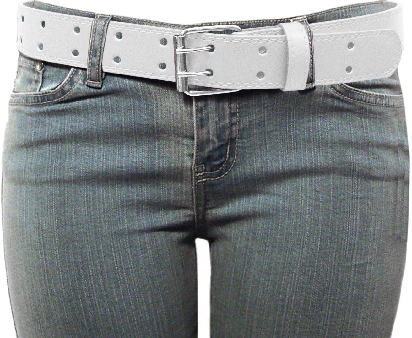 Double Grommet 2 Holes Leather Belt 2-Prong Buckle Unisex Womens Mens LONG SIZE