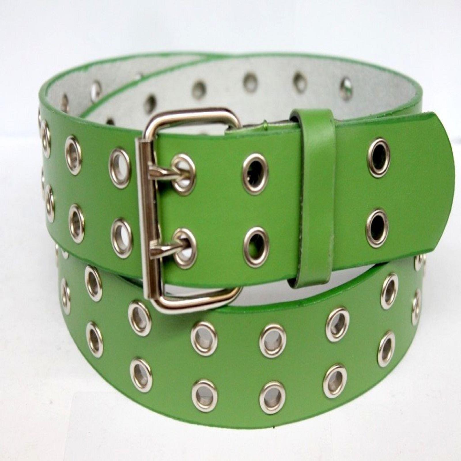 Men Women Double Grommet Holes Dress Casual Leather Belt 2 Prong M L 2XL 3XL 4XL