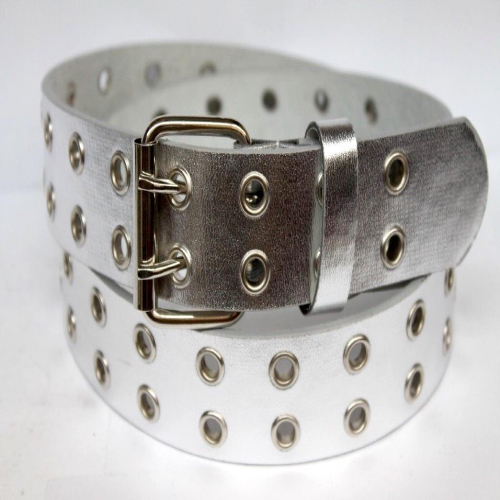 Double-Silver-Grommet-2-Holes-Leather-Belt-2-Prong-buckle-Unisex-Mens-Womens