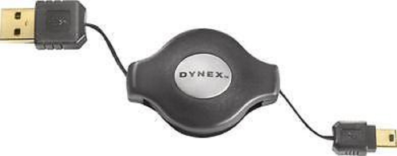 Dynex 4' Retractable USB A to Mini B 5-Pin Cable