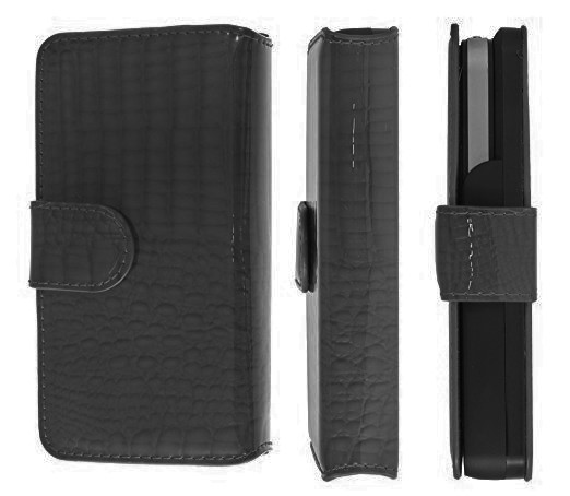 SaFPWR iPhone 4 4S Rechargeable Portfolio Smart Battery Case - Shiraz Black Leather