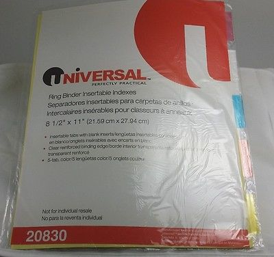 Universal 3 Ring Binder Dividers - Multicolor - 5-Tab