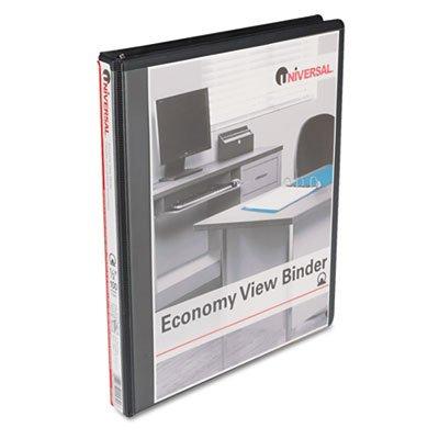 Universal Round Ring Economy Vinyl View Binder UNV20951, Black