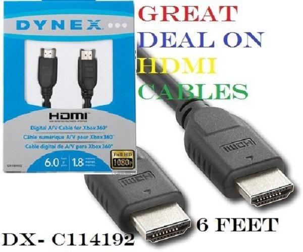 Dynex Silver 1080p HDMI Video Cable - 6 feet (1.8 meters) (Bulk Pack U3)