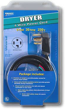 Smart Choice 6' 30-Amp 4-Prong Dryer Cord with Eyelet Terminals
