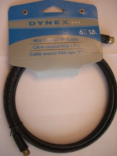 Dynex DX-AV081 - RF cable - F connector (M) - F connector (M) - 6 ft - double shielded coaxial - ( RG-6 )
