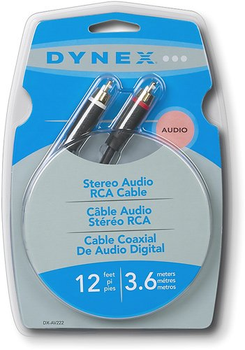 Dynex RCA Stereo Audio Cable - 12ft (3.6M)!