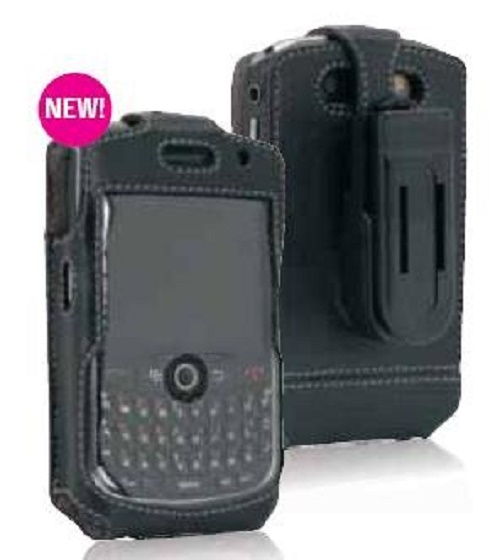 Leather Carrying Case with Screen Protector for Blackberry Curve 8900 with belt clip
