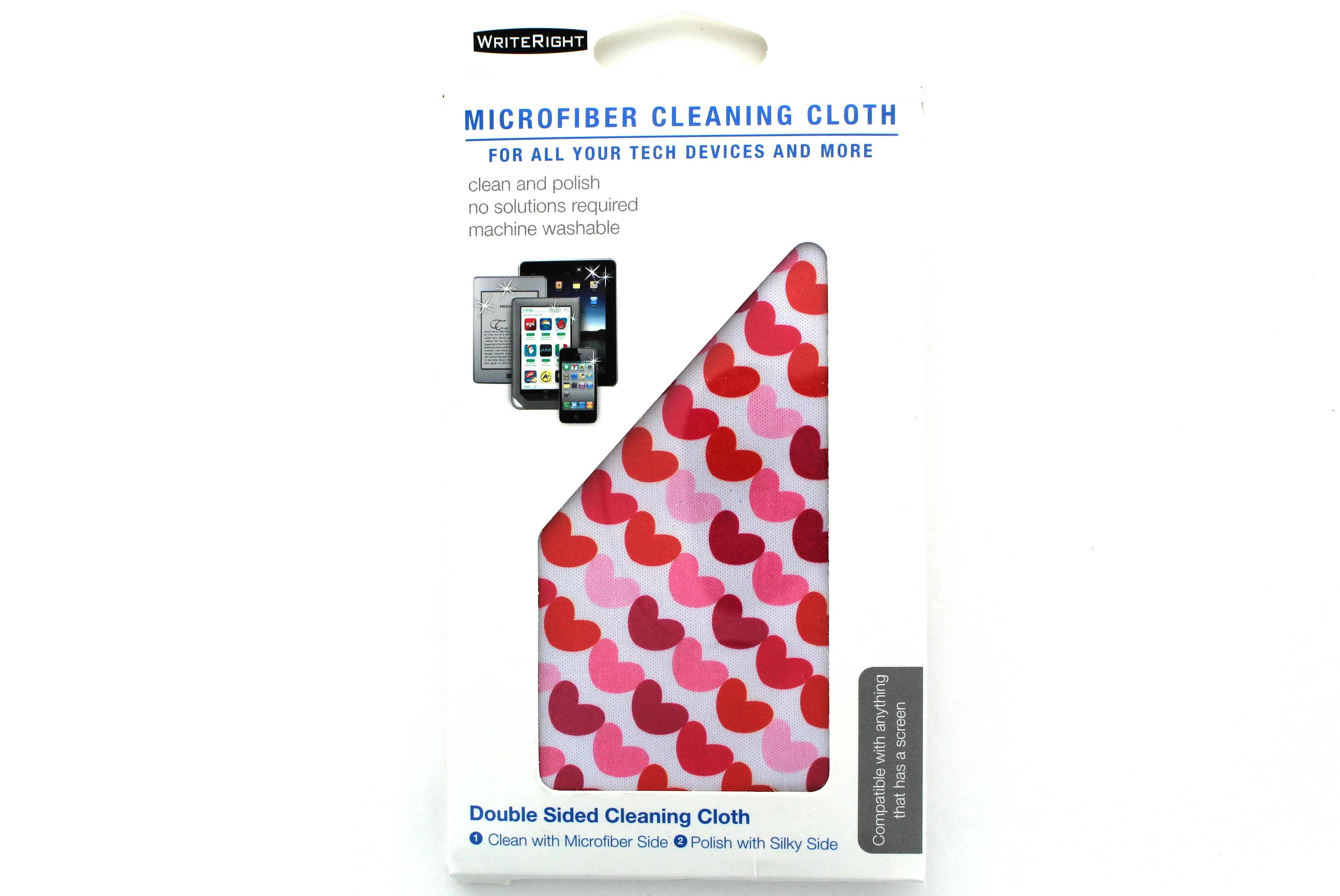 WriteRight Microfiber Double Sided Cleaning Cloth Pink Hearts