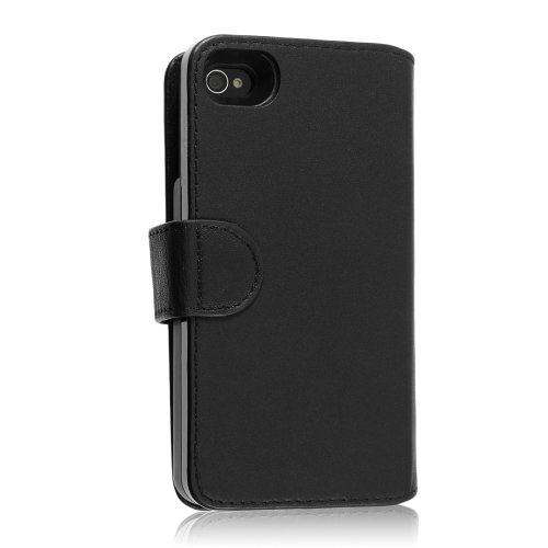 SaFPWR Milano Smart Battery Case for Apple iPhone 4 & 4S Rechargeable Portfolio Cover - Smooth Black Leather - Bulk Packaging