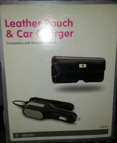 T-mobile - Leather Pouch & Car Charger for Motorola Rizr Z3 (Black)
